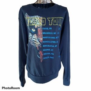 Tiger Tour Washed Black Pullover Sweatshirt Small
